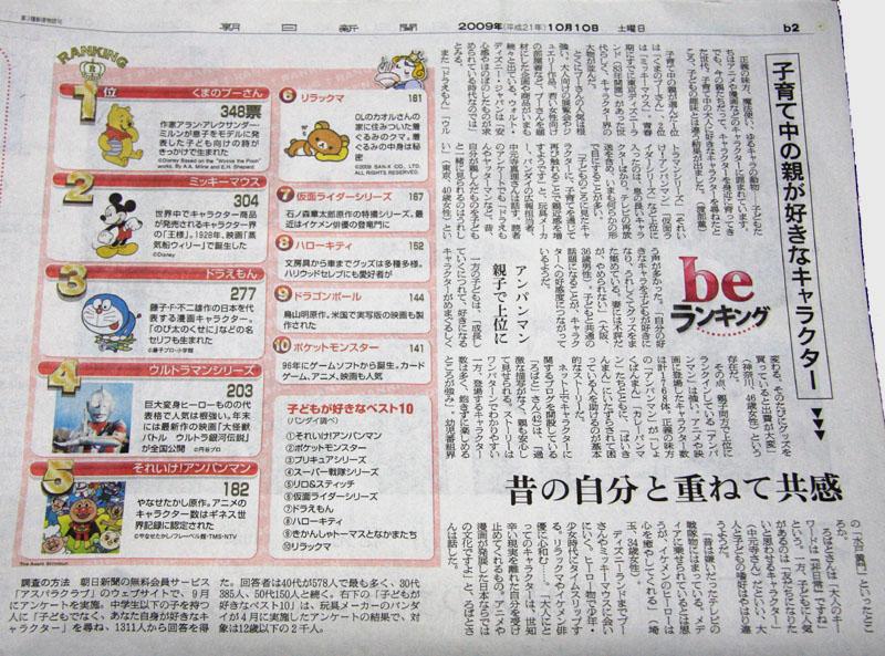2009年10月10日(土)朝日新聞(be on Saturday)「beランキング」掲載記事