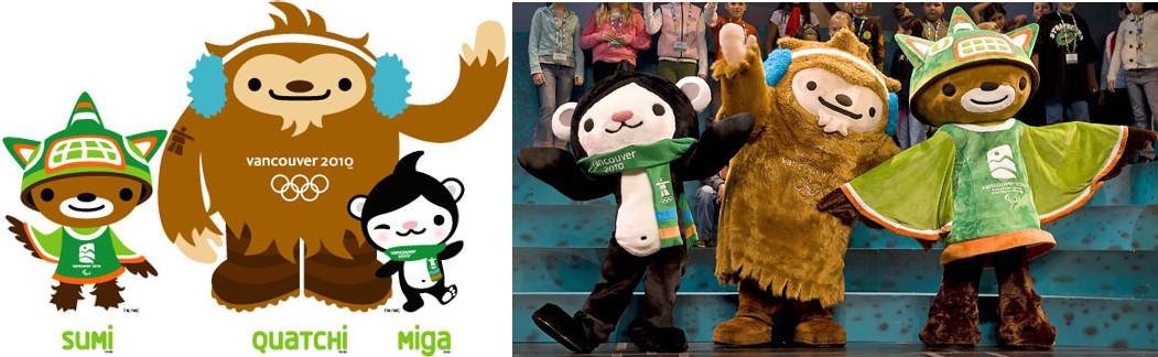 2010年バンクーバーオリンピックのマスコットキャラクター、Sumi(スーミ)、Quatchi(クワッチ)、Miga(ミーガ)