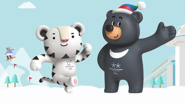 2018年平昌(ピョンチャン)オリンピックマスコットキャラクター「スホラン」と、パラリンピックのマスコットキャラクター「バンダビ」