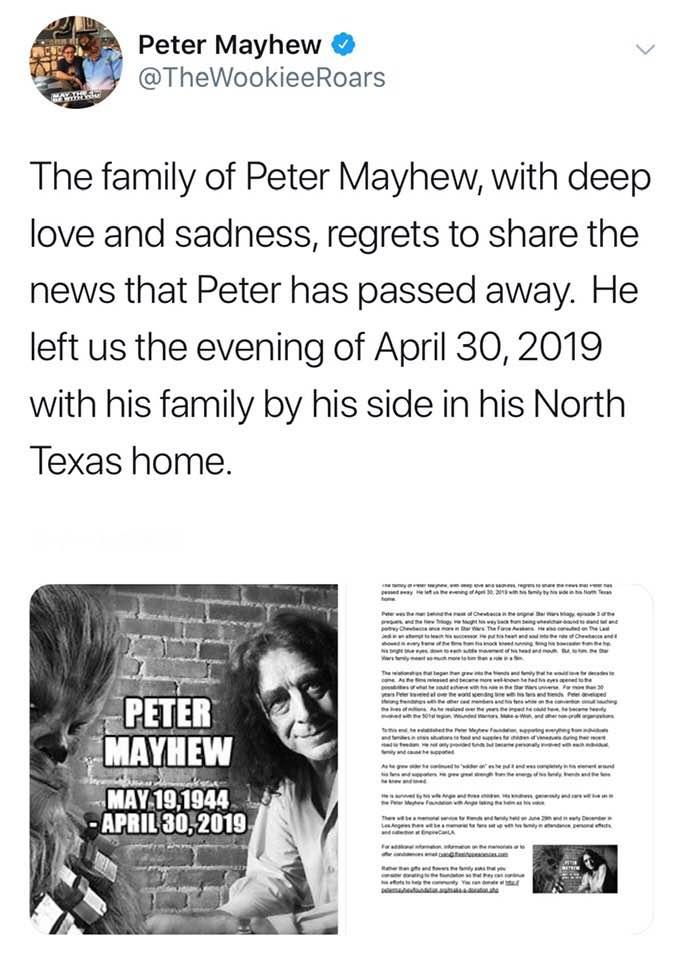 ピーター・メイヒューさんの死去を伝えるピーター・メイヒューさんのツイッター