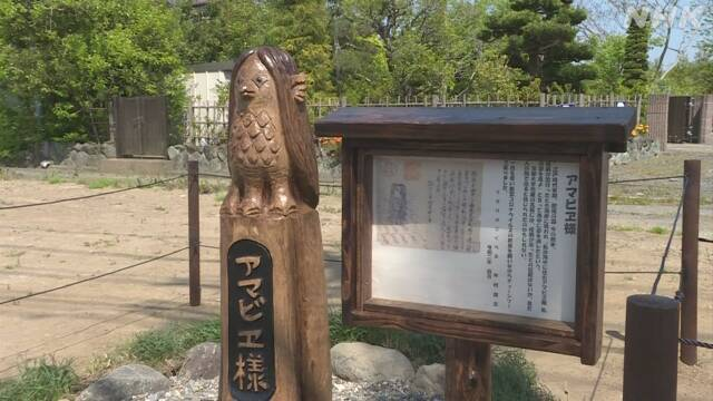 千葉県茂原市の空き地に設置された「アマビエ」