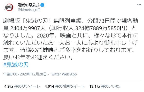 劇場版「鬼滅の刃」無限列車編が、興行収入日本歴代1位を達成