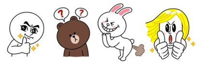 LINEのキャラクター、ムーン、ブラウン、コニー、ジェームス