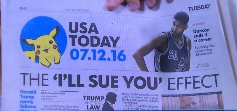 USA TODAY一面に載ったピカチュウ