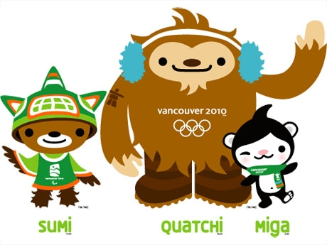 2010年バンクーバー冬季オリンピックのマスコット「スミ」「クアッチ」「ミガ」
